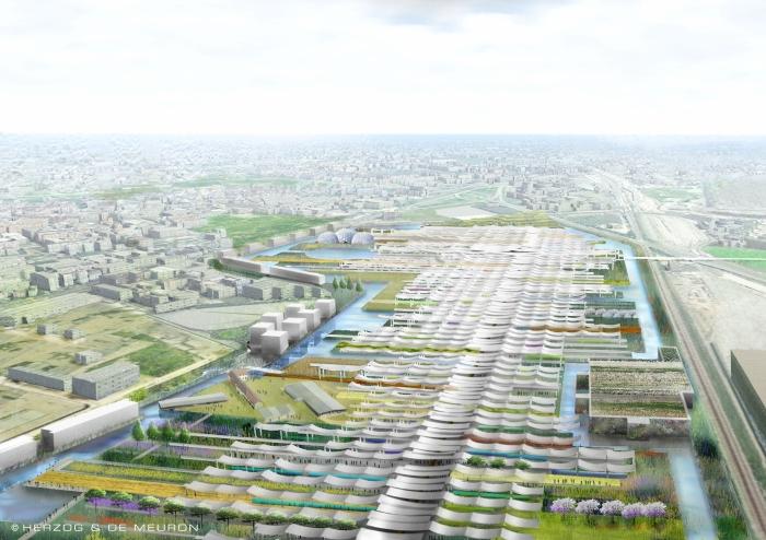 Aerial view along the primary boulevard, Expo Milan 2015 (Courtesy of Herzog & de Meuron)