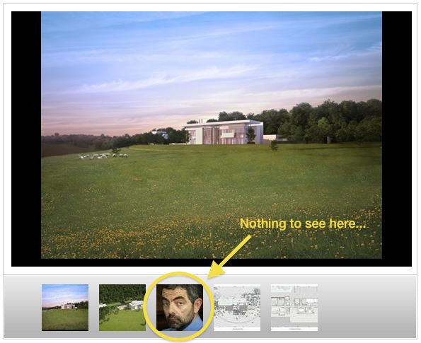 A droll Rowan Atkinson unwittingly appearing in an architectural slideshow