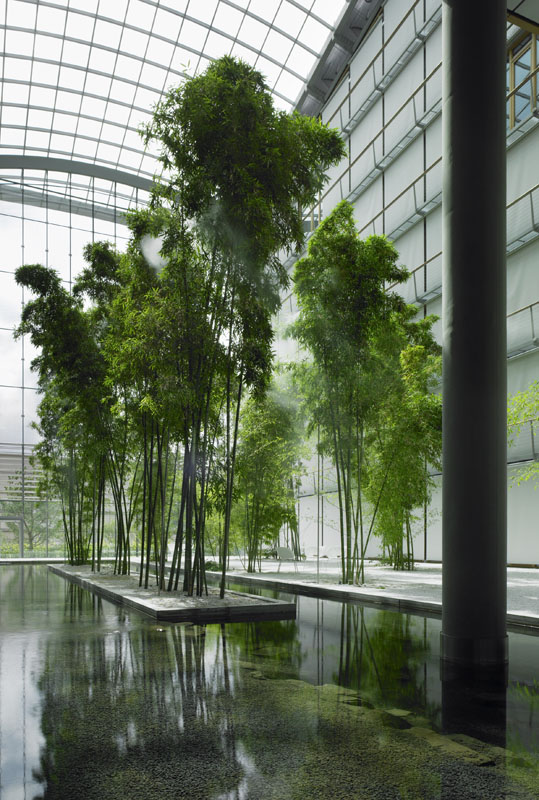 Lufthansa Aviation Centre 'floating' bamboo island atrium