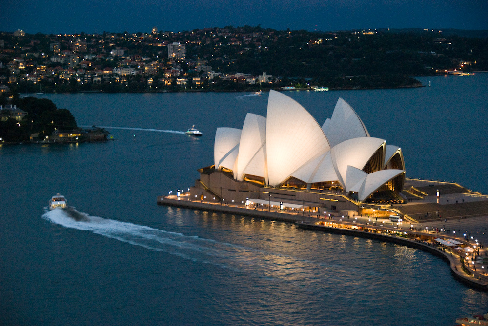 Sydney Opera House at dusk by Jørn Utzon